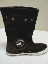 Converse All Star Andover Hi Foldover Fleece & Brown Suede Leather Shoe Womens 6