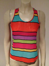 Edgars Striped Sleeveless Rainbow Mult Coloured Chiffon Blouse Size 8