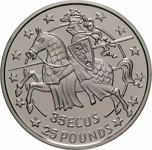 1991 Gibraltar Large Proof 35 Ecu Knight in Armor on Horseback Charging