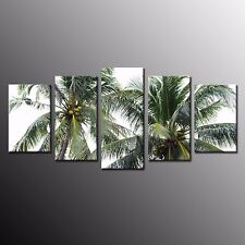 Framed Large Palm Tree Island Landscape Wall Art Print on Canvas Home Decor 5pcs