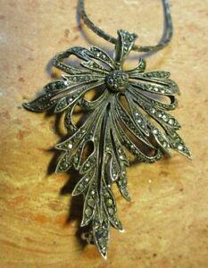 Traumhafte antike Brosche/ Anhänger im Jugendstil 925 Silber Markasiten filigran