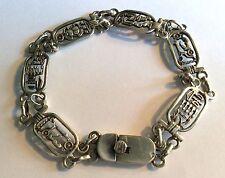 Vintage silver Egyptian Revival hieroglyph cartouche bracelet