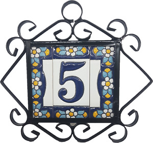 Spanish Blue Floral Address Ceramic Tiles For House Numbers, Letters & Frames