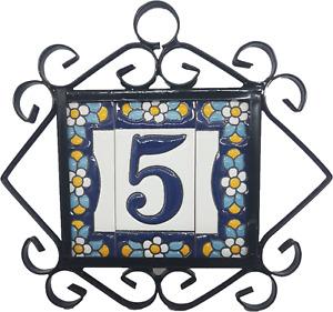 Hand-painted Blue Floral Spanish Ceramic House Number Letter Tiles & Frames