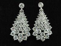 Sparkly Teardrop Austrian Clear Crystal Rhinestone prom Stud dangle Earrings T05