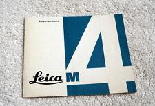 LEICA M4 35MM FILM CAMERA INSTRUCTION BOOK ORIGINAL