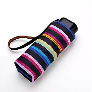 Ladies Girls Mini Flat Rainbow Stripe Compact Umbrella