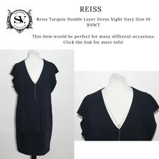 Reiss Tarquin Double Layer Dress Night Navy Size 10 BNWT
