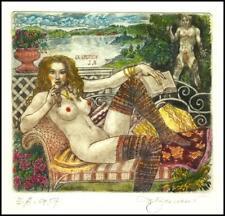 David Bekker 2008 Exlibris C4 Erotic Erotik Nude Sex Nudo Woman Flowers 899