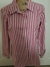 Atlast Classic Ladies Red, White and Lavender Striped Shirt, Size L