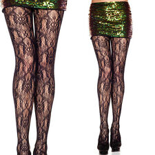 Sexy Sheer Black Vintage Retro Fishnet Floral Lace Pattern Panythose Tights OS