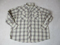 Wrangler Pearl Snap Shirt Adult 2XL XXL Brown Red Rodeo Cowboy Western Mens