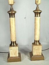 VINTAGE PAIR OF MID CENTURY MARBLEIZED BRASS COLUMN LAMPS ON SQUARE PLINTH BASE