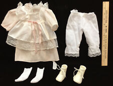"""Doll Outfit Dress Apron Pantaloons Socks Boots White Pink Striped Lace 17"""""""