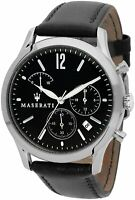 Maserati Tradizione Chronograph Black Dial Men's Leather Watch - R8871625002 NIB
