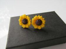 Handmade Yellow Sunflower Stud Post Earrings - Hospice UK Donation Gift Boxed