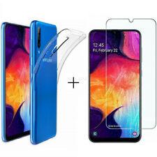 Für Samsung Galaxy A50 Handy Schutz Hülle Silikon Case Tasche Cover 9H Hartglas