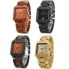 Fashion BEWELL Wood Watch Wooden Quartz Date Display Mens Wristwatch Square Face