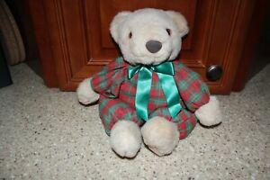 "Hallmark Plush Bear with Red Green Plaid Outfit Tan Floppy 12"" Cute!"