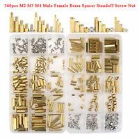 360Pcs M2 M3 M4 Brass Male Female Standoff Spacer Hex Screws Bolts Nuts Set