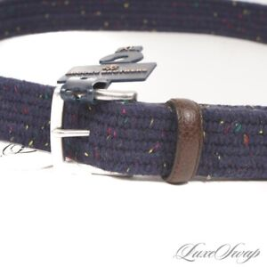 NWT #1 MENSWEAR Brooks Brothers Navy Blue Stretch Donegal Speckled Tweed Belt XL