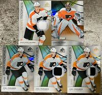 2019-20 SP GAME USED 5x FLYERS JERSEY AUTO LOT FARABEE MYERS HART /101 /65 RC