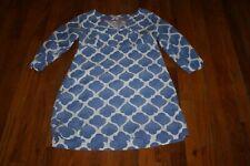 BODEN WOMEN'S BLUE & WHITE LINEN 3/4 SLEEVE V-NECK TUNIC DRESS SIZE 4P