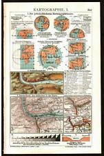 Antique map. CARTOGRAPHY. MAPMAKING. I & II. Circa 1911