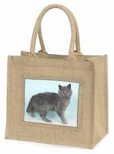 Silver Grey 'Blue' Selkirk Rex Cat Large Natural Jute Shopping Bag Ch, AC-110BLN