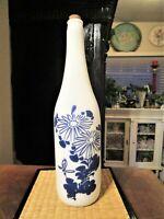 Vintage Kiku-Masamune Sake Milk Glass White Japanese Decorative Blue Flowers