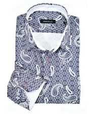Marcello Sport W823 Denim Paisley Button Down Shirt Mens XXL MSRP $104 NEW