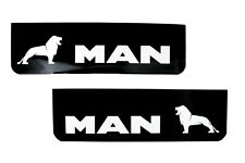 MAN Lorry HGV Truck Mudflaps 18x60cm Smooth Black PVC Mud Flaps with White Logo