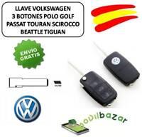 LLAVE CARCASA VW VOLKSWAGEN 3 BOTONES GOLF POLO PASSAT TOURAN TIGUAN  SCIROCCO