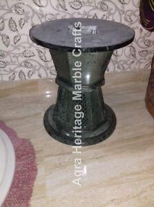 "18""x15"" Green Filigree Marble Designer Pedestal Stand Furniture Decorative E561"
