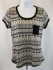 Self Esteem Tribal Aztec Design Top Black & Cream, Women's Large▪FREE Shipping!