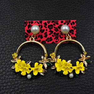 Betsey Johnson Yellow Crystal Rhinestone Flower Eardrop Dangle Long Earrings