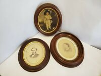 Lot of 3 Antique Oval VIctorian walnut picture frames w/ pictures