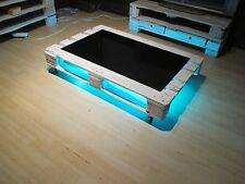 Großer Holz - Couchtisch, mit Glasplatte, wechselnder LED Beleuchtung und Rollen