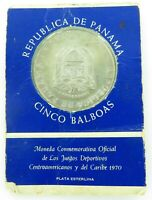 .1970 REPUBLIC of PANAMA UNC STERLING SILVER 5 BALBOAS COMMEMORATIVE COIN PACK