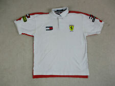 VINTAGE Tommy Hilfiger Polo Shirt Adult Medium White Red Racing Rugby Mens 90s*