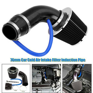 76mm Car SUV Cold Air Intake Filter Induction Pipe Power Flow Hose Universal Kit
