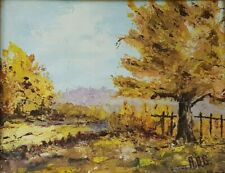"""Vintage Framed Fall Landscape Oil Painting Picture Signed A.D.G. 11"""" x 9"""""""