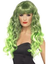Green Siren Wig Long, Curly with Fringe Adult Womens Smiffys Fancy Dress Costume
