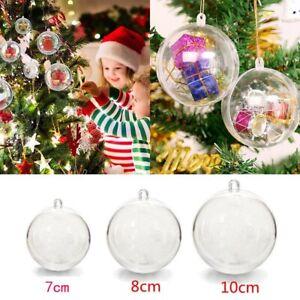 7/8cm Clear Plastic Christmas Balls Bauble Sphere Fillable Xmas Tree Ornament
