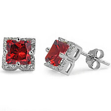 Halo Princess Cut Garnet .925 Sterling Silver Stud Earrings