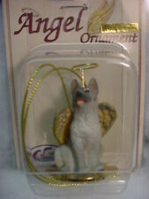 GERMAN SHEPHERD black silver gray DOG ANGEL Ornament HAND PAINTED Figurine puppy
