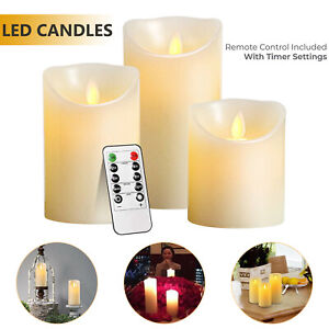 3Set Flickering LED Candles Real Wax Battery Powered Lights Remote Control Lamps