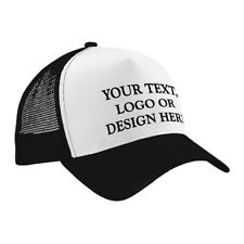 Personalised Adult Trucker Style Cap / Hat - Any Name / Logo / Image - Black