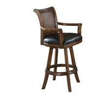 Clarendon Traditional Medium Brown Bar Stool with Leather Seat by Coaster 100174