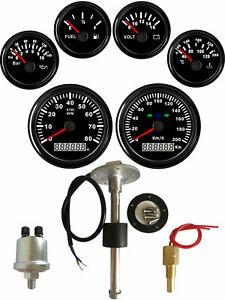 6 Gauge set with Senders,Speedo 200KPH Tacho Fuel Volt Oil Pressure Temp Red LED